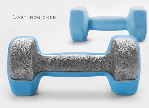 """alt=""""Cast iron core in StretchUp™ Dumbbell Hand Weight Set Hex Neoprene Rubber"""""""