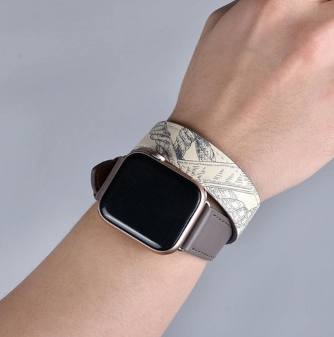 """alt=""""The Grey Stanvés™ Leather Double Tour Band Strap with Prints for Apple Watch"""""""