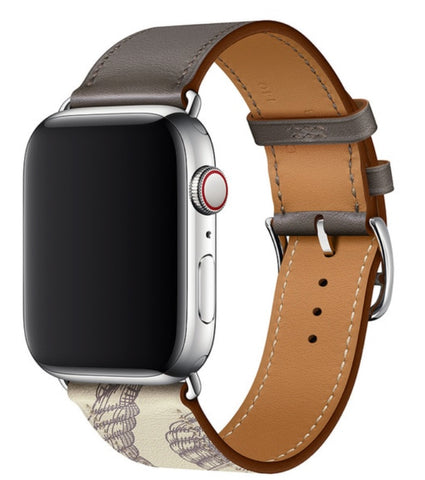 """alt=""""Gray Printed Stanvés™ Leather Single Tour Band Strap for Apple Watch Series 6 SE 5 4 3 2 1"""""""