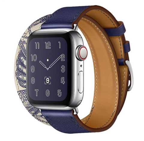 """alt=""""The Ink Blue Stanvés™ Leather Double Tour Band Strap with Prints for Apple Watch"""""""