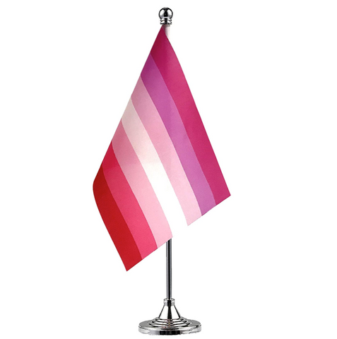 """alt=""""ProudRainbow LGBT Pride Flag with Stand for Office Desk Home Decor Mini"""""""