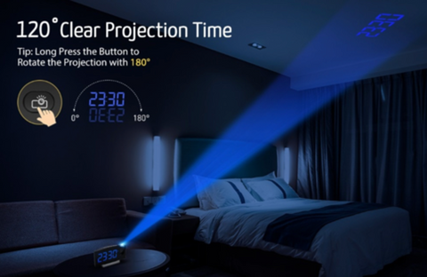 """alt=""""Projection in Dark by TimeZZ™ LED Digital Alarm Projection Clock With FM Radio USB Timer Curved Screen"""""""