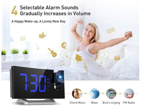 """alt=""""Dual Alarm Feature in TimeZZ™ LED Digital Alarm Projection Clock With FM Radio USB Timer Curved Screen"""""""