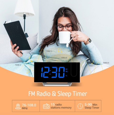 """alt=""""FM Radio Feature in TimeZZ™ LED Digital Alarm Projection Clock With FM Radio USB Timer Curved Screen"""""""