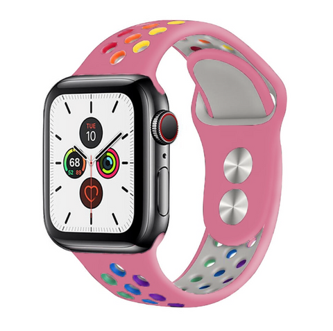 """alt=""""The Pink ProudRainbow™ Pride Accessories LGBT Rainbow Apple Watch Band Strap"""""""