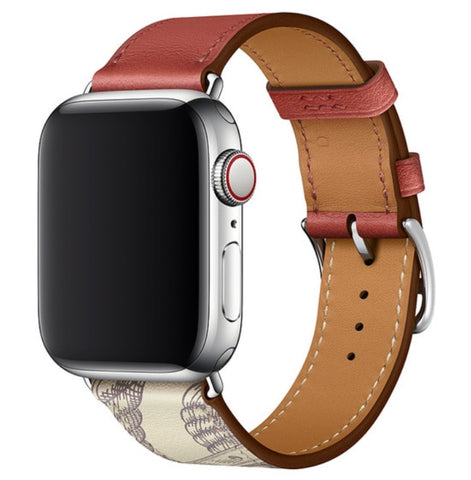 """alt=""""Brick Red Printed Stanvés™ Leather Single Tour Band Strap for Apple Watch Series 6 SE 5 4 3 2 1"""""""