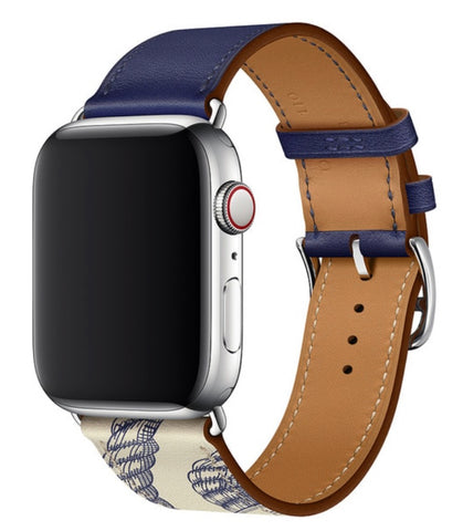 """alt=""""Ink Blue Printed Stanvés™ Leather Single Tour Band Strap for Apple Watch Series 6 SE 5 4 3 2 1"""""""