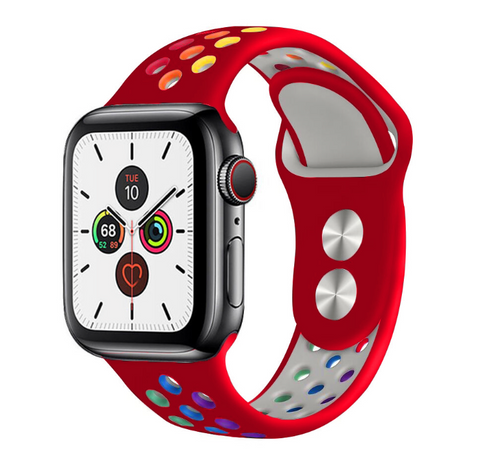 """alt=""""The Red ProudRainbow™ Pride Accessories LGBT Rainbow Apple Watch Band Strap"""""""