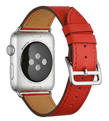"""alt=""""Red Stanvés™ Leather Single Tour Band Strap for Apple Watch Series 6 SE 5 4 3 2 1"""""""