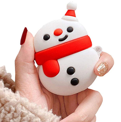 """alt=""""Red Scarf Snowman from Xmasy Silicone Case Cover for AirPods 1 2"""""""