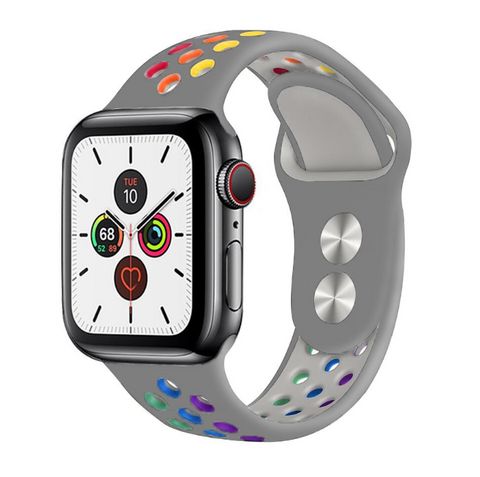 """alt=""""The Silver ProudRainbow™ Pride Accessories LGBT Rainbow Apple Watch Band Strap"""""""