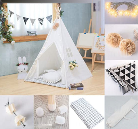 """alt=""""TenTall™ Teepee Tent for Kids with Mat Lights Banner Decorative Accessories & Anti-skid Sleeves"""""""