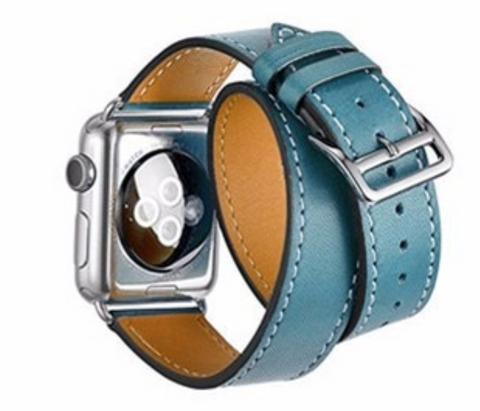 """alt=""""The Blue Stanvés™ Leather Double Loop Band Strap for Apple Watch"""""""