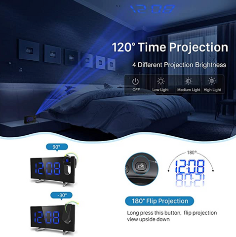 """alt=""""Time Projection in the Dark by TimeZZ Curved Screen Clock"""""""