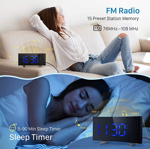 """alt=""""FM Radio and Sleep Timer Function in TimeZZ LED Digital Alarm Projection Clock With FM Radio USB Timer Curved Screen"""""""