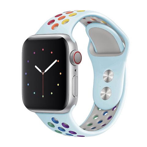 """alt=""""The Turquoise Blue ProudRainbow™ Pride Accessories LGBT Rainbow Apple Watch Band Strap"""""""