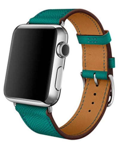 """alt=""""Turquoise Blue/Green Stanvés™ Leather Single Tour Band Strap for Apple Watch Series 6 SE 5 4 3 2 1"""""""