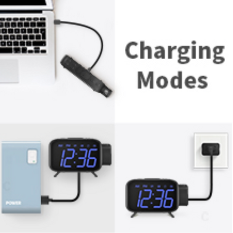 """alt=""""USB Charging feature in SnooZZ™ Projection Alarm Clock Radio with Timer & USB Charging"""""""