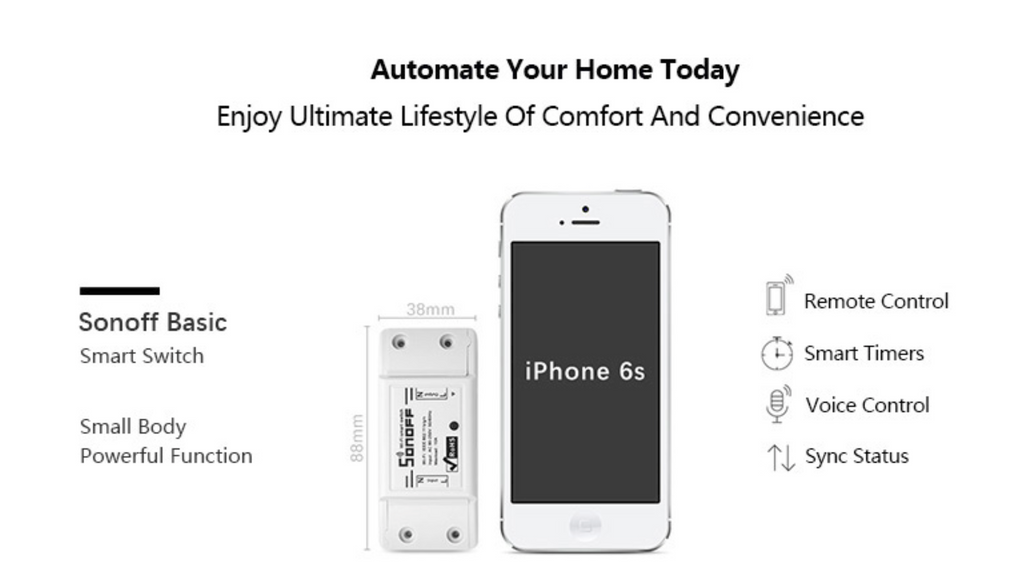"""alt=""""Features of SONOFF WIFI Wireless Smart Switch Remote Control Socket with Timer App Amazon Alexa Echo Tap Google Home Assistant Nest IFTTT Support"""""""