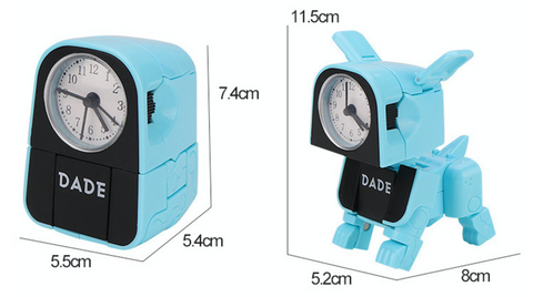 """alt=""""Alarm clock and puppy mode with size specifications of DoggyDade Alarm Clock for Kids"""""""