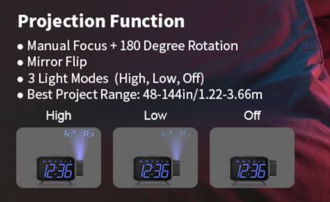 """alt=""""The projection function and three-level brightness in SnooZZ™ Projection Alarm Clock Radio with Timer & USB Charging"""""""