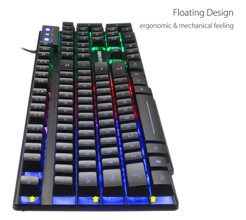 """alt=""""KuiynKey 2400DPI LED Colorful Backlight USB Wired Gaming Keyboard With Mouse and Mousepad"""""""