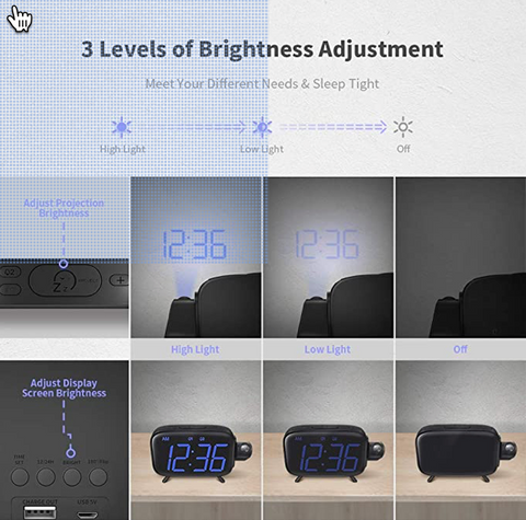 """alt=""""Three levels of adjustable brightness in SnooZZ™ Projection Alarm Clock Radio with Timer & USB Charging:"""