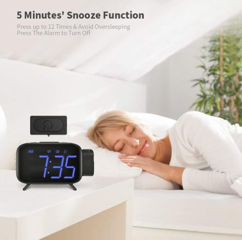 """alt=""""The snooze function in SnooZZ™ Projection Alarm Clock Radio with Timer & USB Charging"""""""
