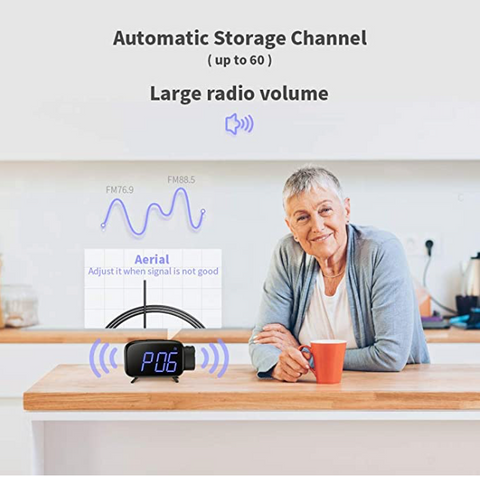 """alt=""""The radio function in SnooZZ™ Projection Alarm Clock Radio with Timer & USB Charging"""""""