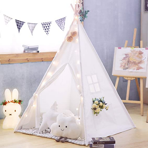 """alt=""""TenTall™ Teepee Tent for Kids with Mat Lights Banner & Other Accessories"""""""