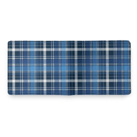 Blue Plaid Leather Wallet - Shift Royal