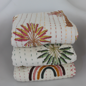 Baby Kantha Quilt - Sunset Palm