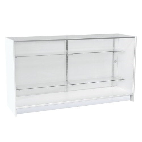 Counter showcase 1800 w timber laminate glass top & 2 shelves 1800 W x 965 H x 508 mm D