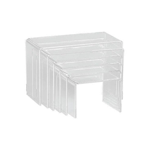 Acrylic risers set rectangular with 6 nesting pieces Max 220 W x 145 H x 100 mm D