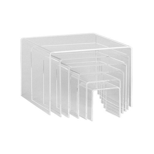 Acrylic risers set square with 6 nesting pieces Max 210 Square x 150 mm H