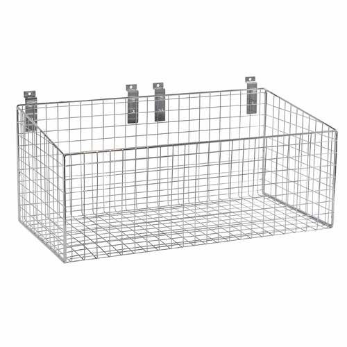 Slatwall mesh basket with low front 586 W X 300 D X 280 mm H