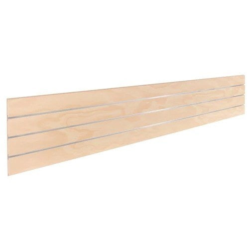 Slatwall timber laminate centre plank with 3 inserts 2400 L x 400 H x 18 mm Thick