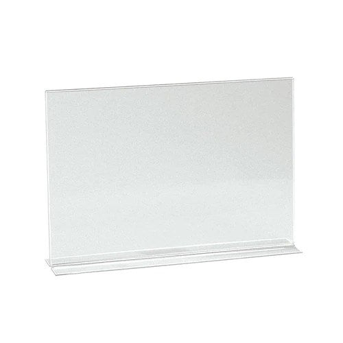 Double sided acrylic sign holder A4 Landscape with 70 mm D Base