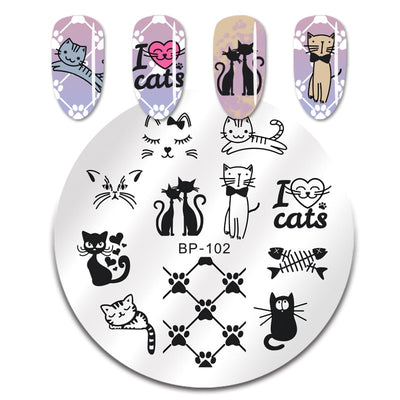 Plaque pour stamping ronde - Pack chaton