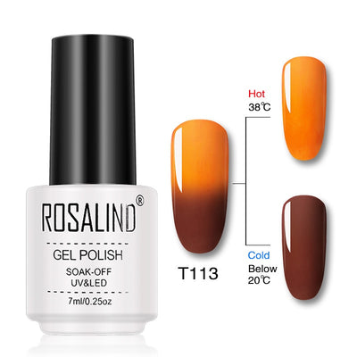 Vernis ongles gel thermique orange et marron