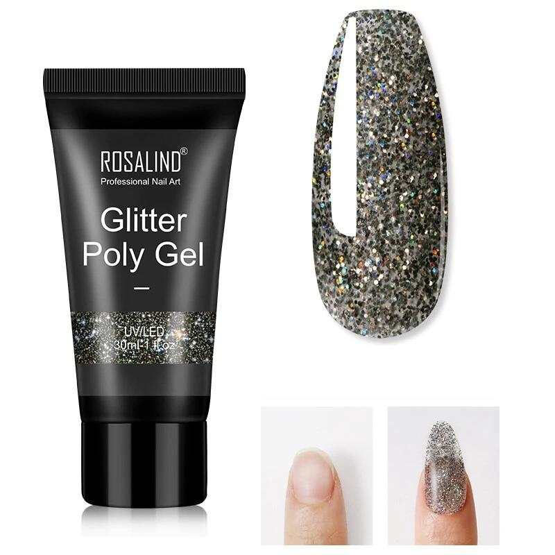 Tube de Polygel Gris Pailleté