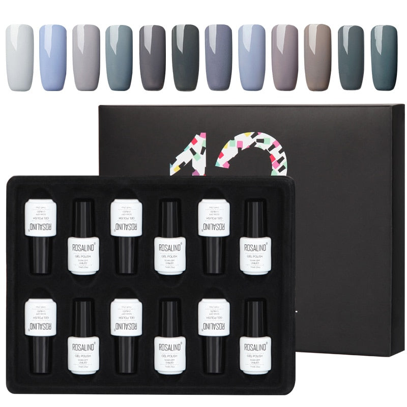 Coffret 12 vernis semi-permanents nuances azur