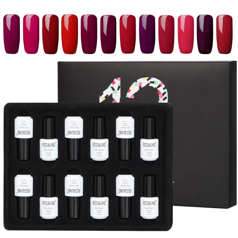 Coffret 12 vernis semi-permanents nuances rougeoyantes