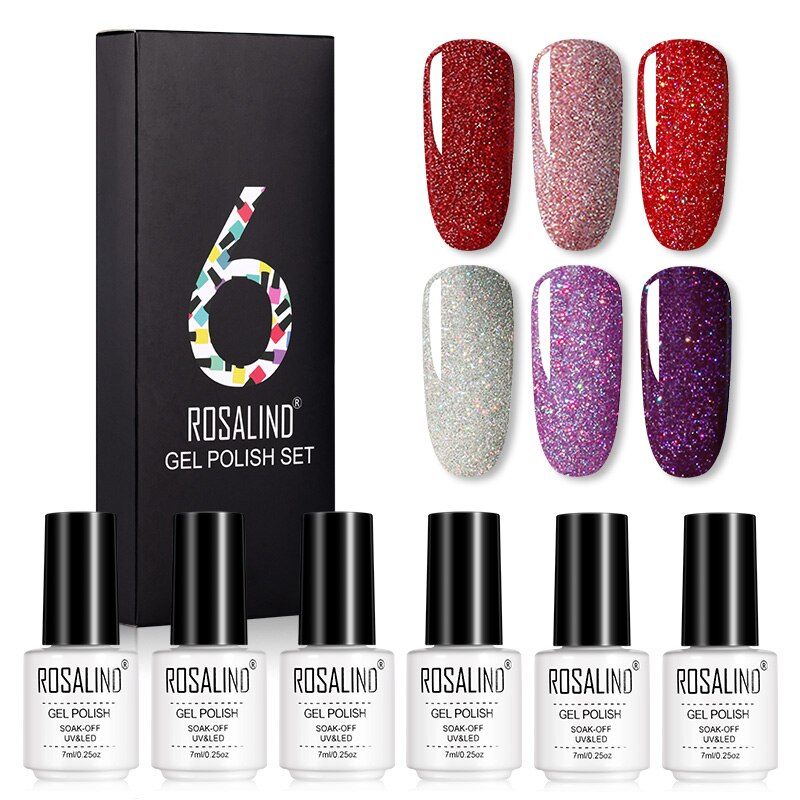 Coffret 6 vernis semi-permanent nuances pailletées