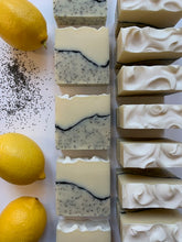 Load image into Gallery viewer, all natural lemon poppy seed soap