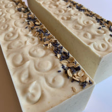 Load image into Gallery viewer, all natural oatmeal and lavender bastille soap loaves