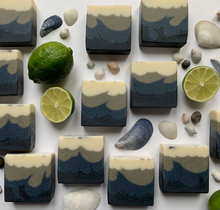 Load image into Gallery viewer, gorgeous all natural soap with waves of sea clay