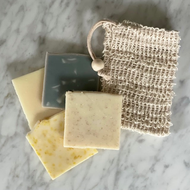 sisal soap saver bag and natural soap pieces