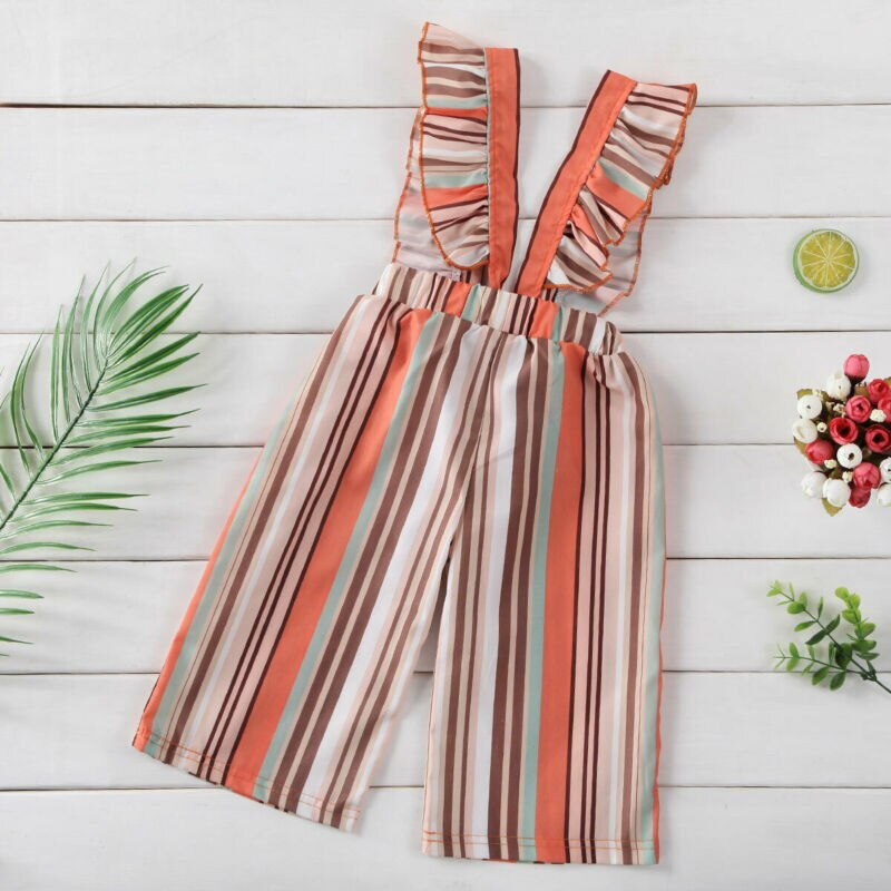 Ruffled Stripe Overalls Jumpsuit