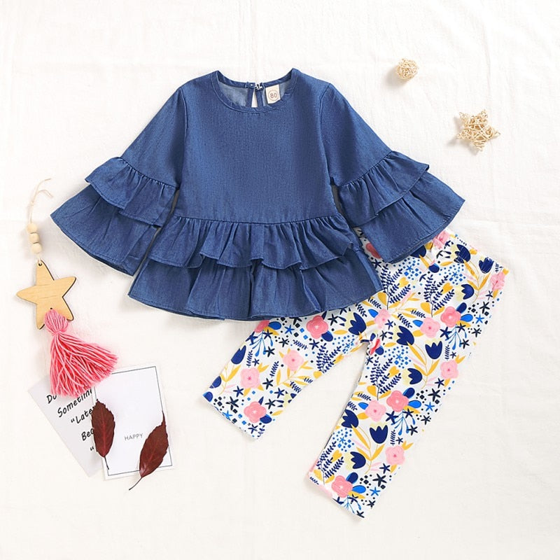 Denim and Floral Set